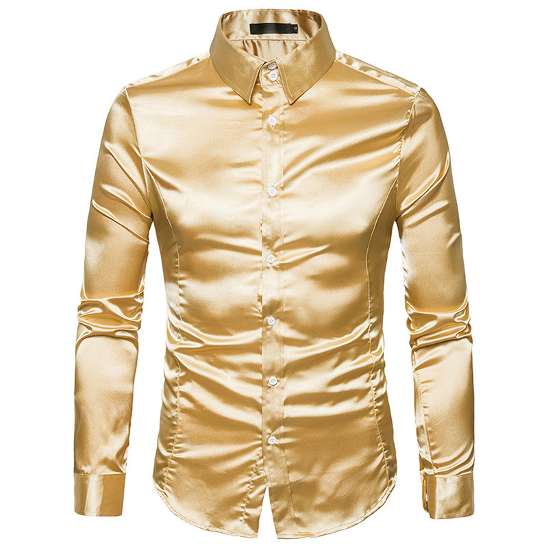 Silk Satin Shirt Men 2017 White Men Shirt Long Sleeve Slim Fit Male Shirt Emulation Silk Casual Button Down Mens Dress Shirts