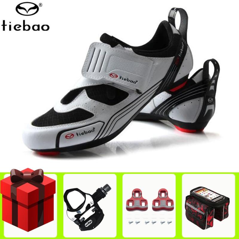 Sapatos de Bicicleta de Estrada Sapatos de Ciclismo Tiebao Homens Anti-deslizamento Adicionar Pedal Conjunto Feminino Triathlon Atlético Esporte Sapatos Zapatos