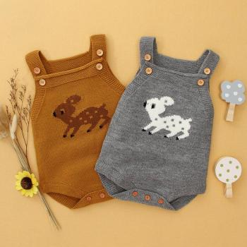 Baby Knitted Onesie Autumn Sleeveless - Reindeer