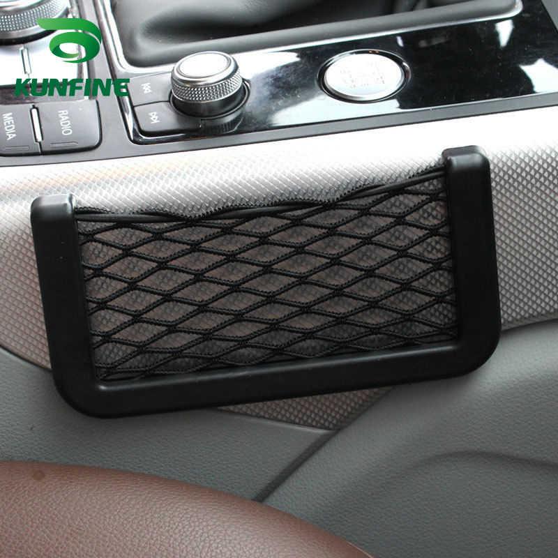 1 unidad de coche multifuncional de almacenamiento de teléfono red de malla resistente para el coche que lleva la cadena bolsa de Nylon de red de bolsillo titular del teléfono de mano