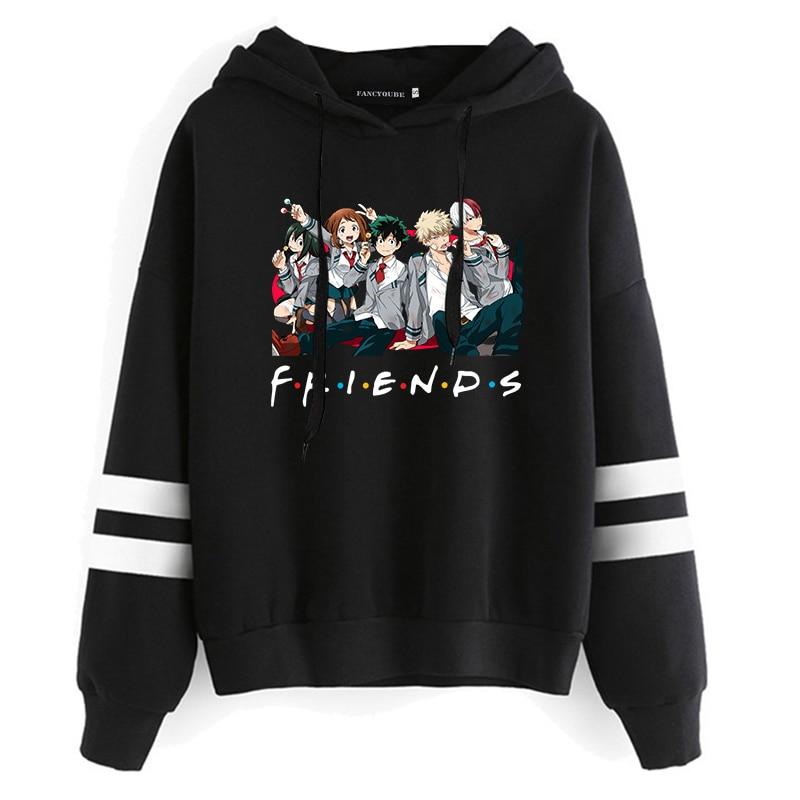 My Hero Academia Anime Sweatshirt Long Sleeve Casual Cartoon Printing Hooded Sweatshirt Japanese Anime Friends Hoodie Pullover