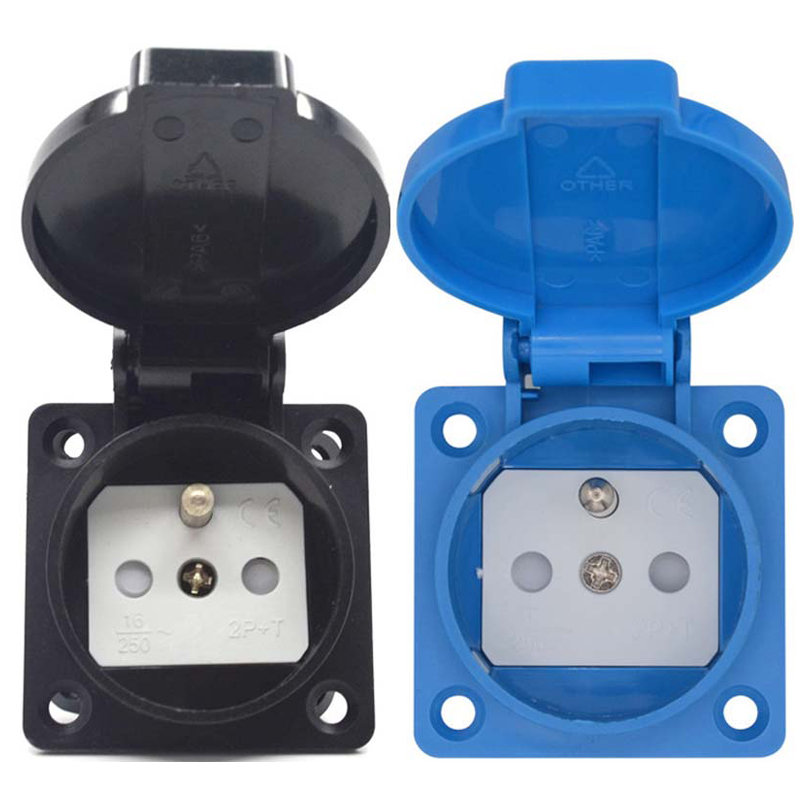 Black Blue Franch Germany Industry Safety Outlet 16A 250V IP54 CE Cover Waterproof Dusrproof Power Connector AC Socket