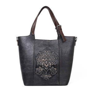 Image 5 - Johnature Retro Luxury Handbags Women Bucket Bag 2020 New Vintage Large Capacity Floral Cowhide Handmade Embossing Shoulder Bags