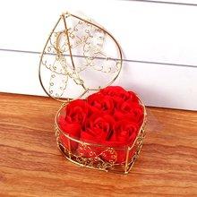 Romântico dia dos namorados presente coração forma ferro cesta com 6 sabão flor rosas perfumado sabão flor caixa de presente melhores presentes quente