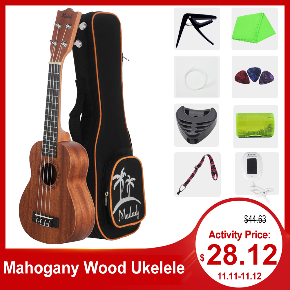 21 Inch Ukulele Ukelele Soprano Mahogany Wood With Carry Bag Uke Strap Strings Clip-on Tuner Cleaning Cloth Finger Maraca Picks