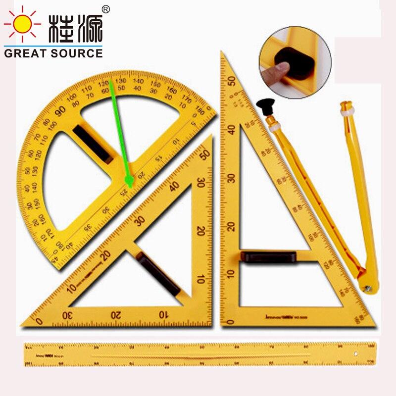 Teacher Mathematics Set Magnet Set Square Ruler Protractor Compass Set of 5