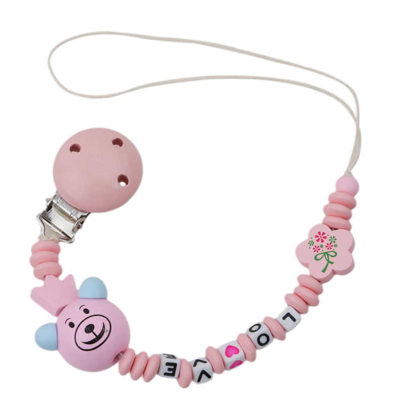 Baby Pacifier Clip Chain Cute Panda Floral Beads Bear Silicone Wood Dummy Clip Baby Soother Holder For Infant Kid Nipple Feeding