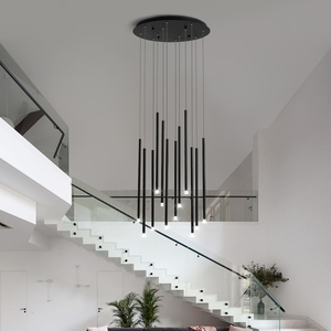 Image 3 - Black/Golden Modern LED Chandelier Lighting For Living Dining Room Duplex Rotating Staircase Adjustable Large New Hanging Lamp