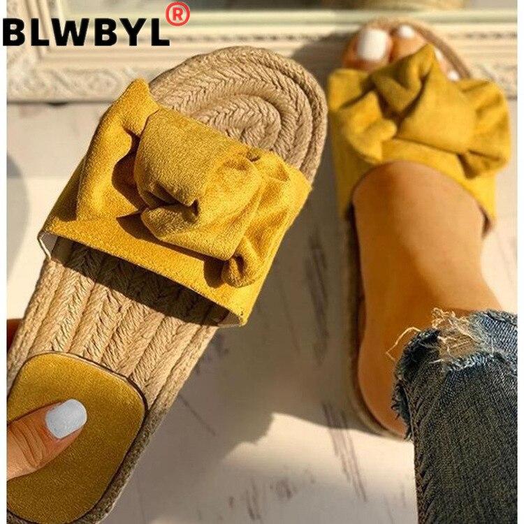 Summer Hot Sale Women Flip Flops Fashion Solid Color Bow Tie Flat Heel Sandals Size 36-40 Outdoor Slipper Beach Shoes Female