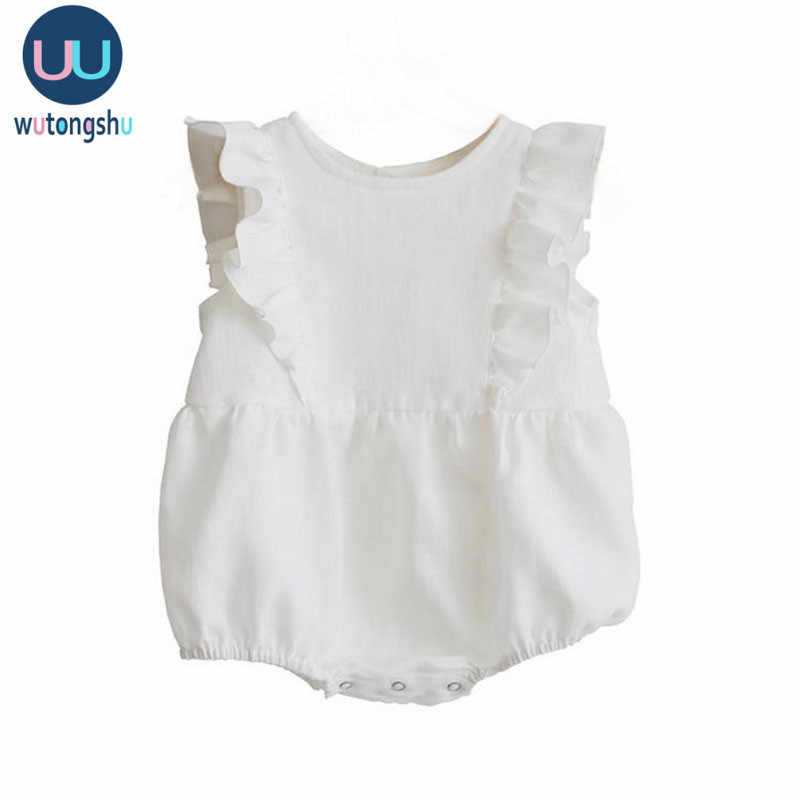 Baby Mädchen Kleidung Sommer 2020 Neue Infant Baby Mädchen Strampler Solid Ärmel Weiß Rosa Neugeborene Overall Outfit Sunsuit Kleidung