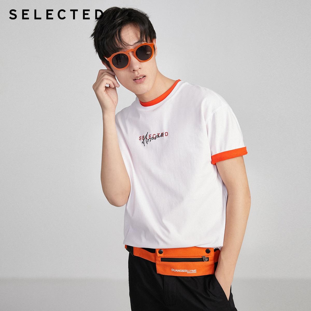SELECTED Men's 100% Cotton Letter Embroidery Drop-shoulder T-shirt S|420201558