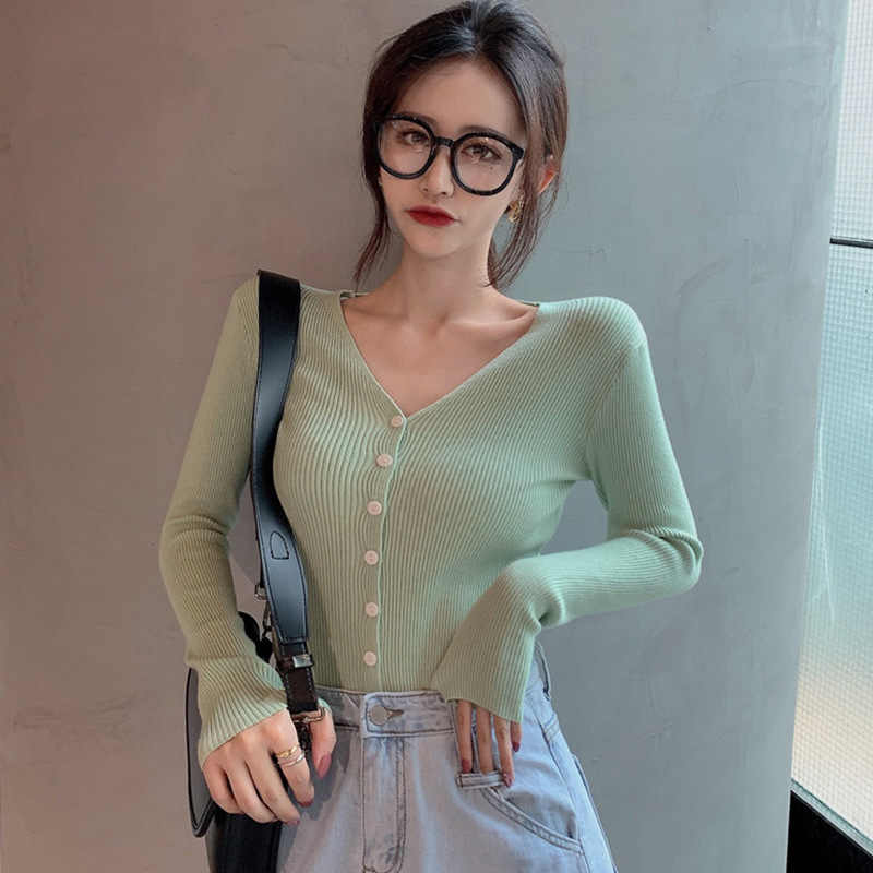 2019 Vrouwen Slim Button Knit Vest V-hals Lange mouwen Trui Fashion Breien Tops