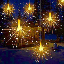 Firework-Lights Patio Starburst-String Battery-Operated Copper-Wire LED Christmas 8