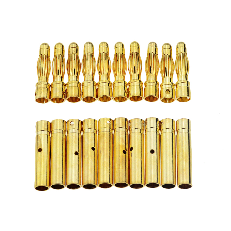 10Pair 4mm Gold-Plated Bullet Banana Socket Male Female Banana Connector Model Battery Plug