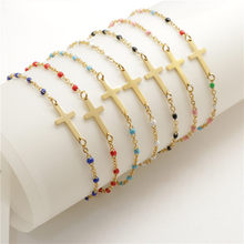 1 PC Fashion Stainless Steel Bracelets Link Cable Chain Cross Gold Enamel Charms