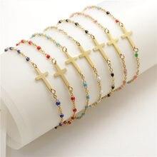 1 Pza 2019 nuevas pulseras de acero inoxidable Cadena de eslabón de cable Cruz pulsera de esmalte dorado para mujeres de moda joyería regalos 18cm de largo