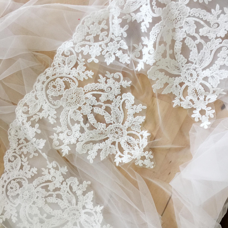 White floral cotton lace trim Bridal Wedding dress hemming lace trim Per Yard