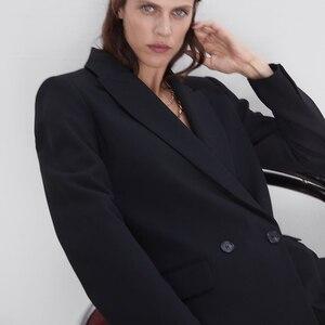 Мода ZA 2019, осенний Новый костюм, куртка, пальто для женщин, Европа, Америка, черный, синий цвет, одежда, двубортное пальто, вечерние, для путешествий, оптовая продажа