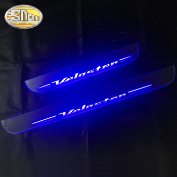 SNCN 2PCS Acrylic Moving LED Welcome Pedal Car Scuff Plate Pedal Door Sill Pathway Light For Hyundai Veloster