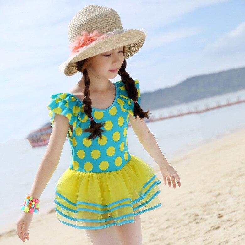 2018 New Style Xiqi KID'S Swimwear GIRL'S One-piece Swimming Suit Yarn Puffy Princess Dress Polka Dot Beach Bathing Suit
