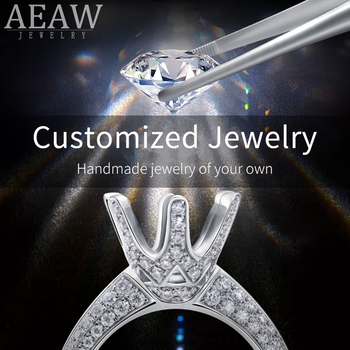 AEAW Customize Moissanite Earring Solid Gold RING and earrings Fine Jewelry Engagement Rings for Women 10K 14K 18K image