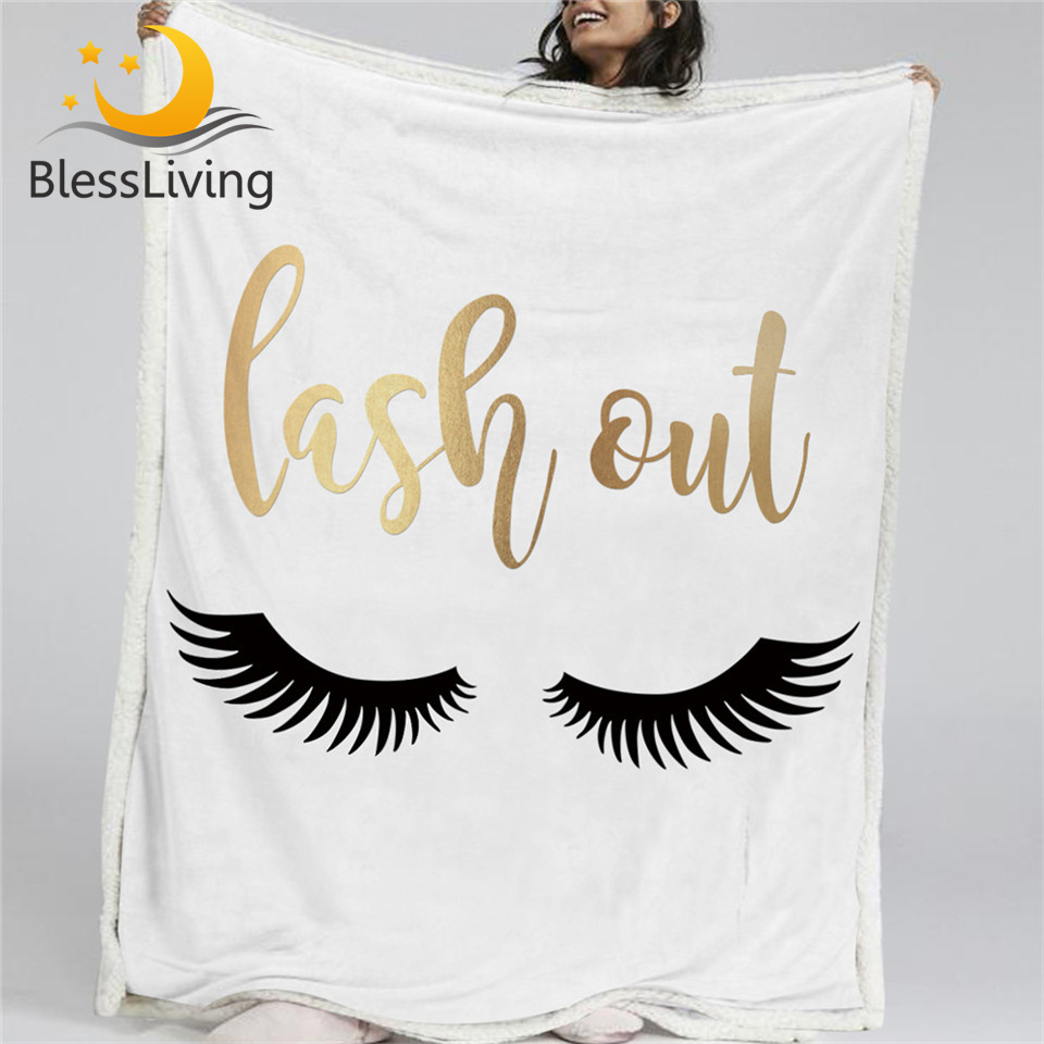 BlessLiving Cílios Cobertores de Flanela de Lã Reversível Sherpa Cobertor de Ouro e Preto Olhos Bonitos Padrão Cama Sofá Cama Elegante