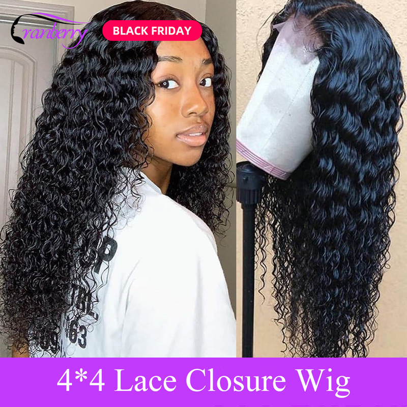 Cranberry Hair 4X4 Closure Wig Deep Wave Wig Peruvian Hair Lace Closure Wig 100% Remy Human Hair Wigs For Black Women 10-24 Inch