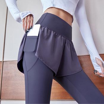 F DYRAA ukryta kieszeń fałszywe dwa kawałki wysokiej talii spodnie sportowe do jogi Plus rozmiar szybkoschnący odzież oddychająca spodnie sportowe do biegania tanie i dobre opinie CN (pochodzenie) Elastyczny pas NYLON spandex WOMEN Dobrze pasuje do rozmiaru wybierz swój normalny rozmiar Yoga Pełna długość