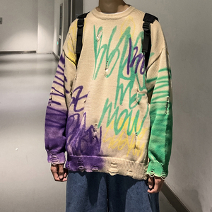 Image 1 - 2019 Winter Mens Doodle Printing Coats Woolen Cashmere Sweaters Casual Pullover Holes Long Sleeve Round Neck Knitting M XL