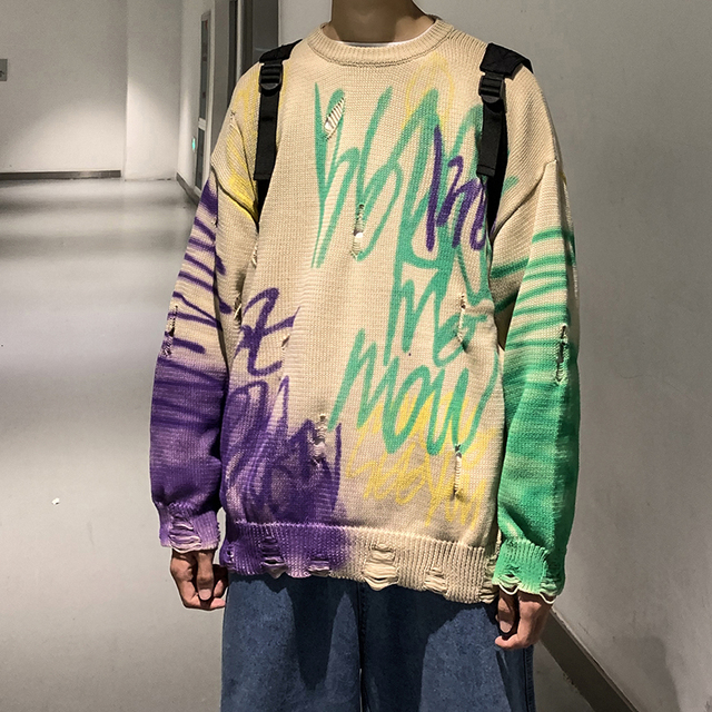 2019 Winter Mens Doodle Printing Coats Woolen Cashmere Sweaters Casual Pullover Holes Long Sleeve Round Neck Knitting M XL