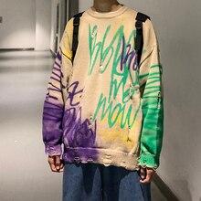 2019 חורף גברים של שרבוט הדפסת מעילי צמר קשמיר סוודרים מקרית סוודר חורים ארוך שרוול עגול צוואר סריגה M XL