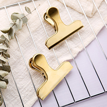 2pcs Stainless Steel Gold Plated Decorative Paper Clips Binder Clip Clamp Office School Office Supplies