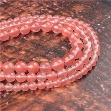 Fashion Red Watermelon Round Beads Loose Jewelry Stone 4/6/8/10 / 12mm Suitable For Making Jewelry DIY Bracelet Necklace