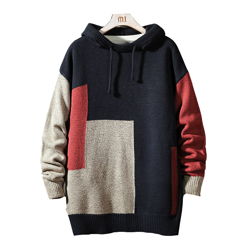 2020 Autumn Winter Christmas Casual O-Neck Patchwork With HOODED Sweater Men Turtleneck Fashion Brand Warm Pull Turtle Pullover