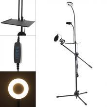 Wielofunkcyjna transmisja na żywo gęsiej szyi uchwyt na telefon komórkowy wspornik statywu z stojak mikrofonowy filtr Pop i Selfie lampa pierścieniowa