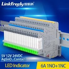 Mpc250d6z24bsc 1pc micro led módulo de relé ultra fino din 6a 250vac eletromagnética contato bobina relé tensão controle 5v 12v 24v