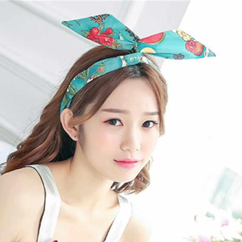 Women  hot pink satin wired   retro Hair  accessories Headband Wrap Turban knot