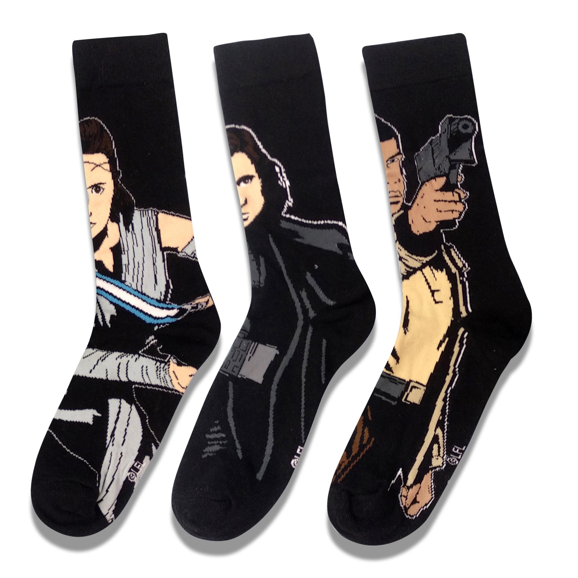 Black Casual Movie Character Star Wars Socks Cosplay Jedi Knight Novelty Men Women Sock Hip Hop Street Skateboard