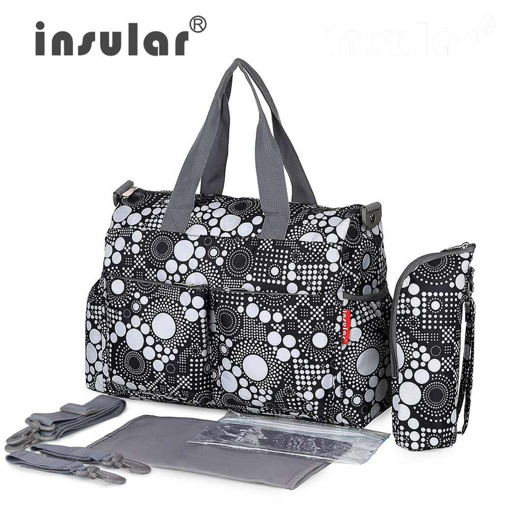INSULAR Baby Nappy Bags Diaper Bag Mother Shoulder Bag Maternity Mummy Handbag Waterproof Large Capacity Baby Stroller Bag