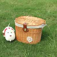 Children's Bicycle Bucket Electric Car Front Rattan Basket Waterproof Sturdy Simple Food Basket High Capacity