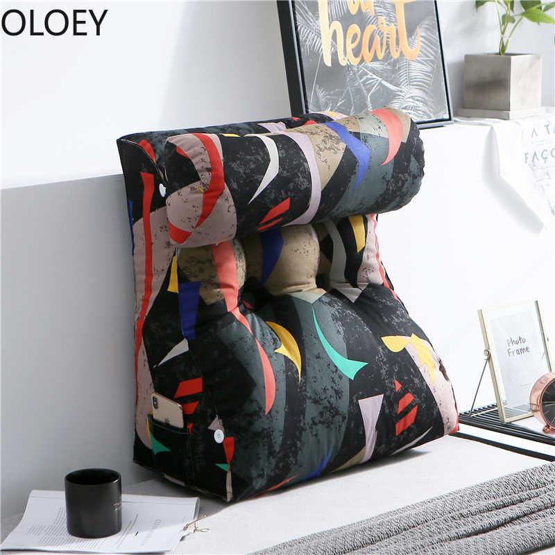 Grand Triangle lit tête coussin dos canapé taille dossier oreiller pour lit coussins Cojin 45x45 décor à la maison Patio chaise coussins chauds