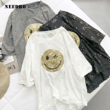 NEEDBO Sexy t-shirt Women Printed Smile Face Casual O-Neck Sequin Tshirt Summer Polyester Femme Big Size