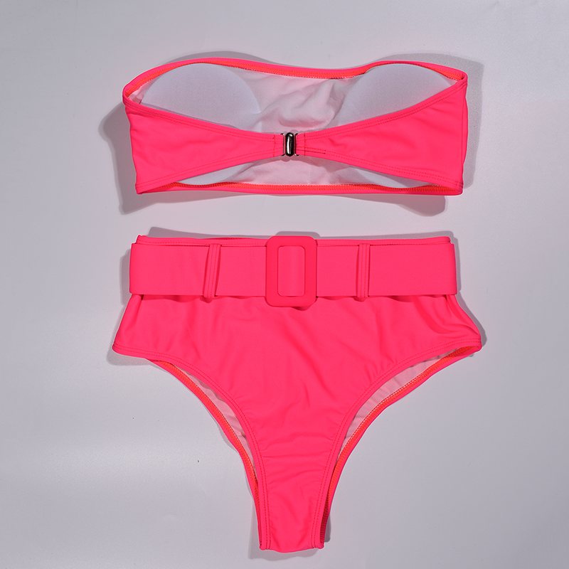 Pink High Waist Bandeau Bikini Set 3