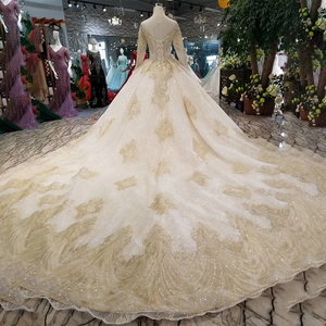 Image 2 - LSS088 luxury dubai glitter wedding gowns o neck long sleeve shiny lace flowers wedding dresses long train latest new design