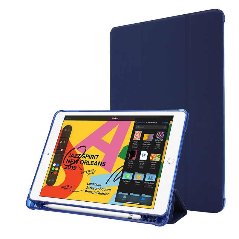 dark Blue White For iPad Case 7th Generation Flip Stand Protective Case with Pencil Holder Smart Cover For iPad