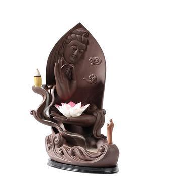 Backflow Incense Burner Ceramic Smoke Waterfall Incense Burner Holder Aromatherapy Buddha Censer +10Pc Cone Buddhist Decoration