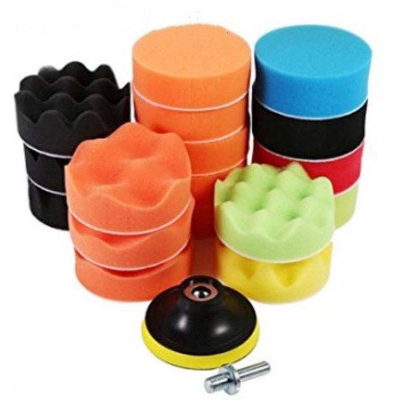 19Pcs 3inch Car Polishing Pads Sponge Buffing Polishing Pad Kit For Car Polisher With Drill Adapter Buffing Car Tool Accessories
