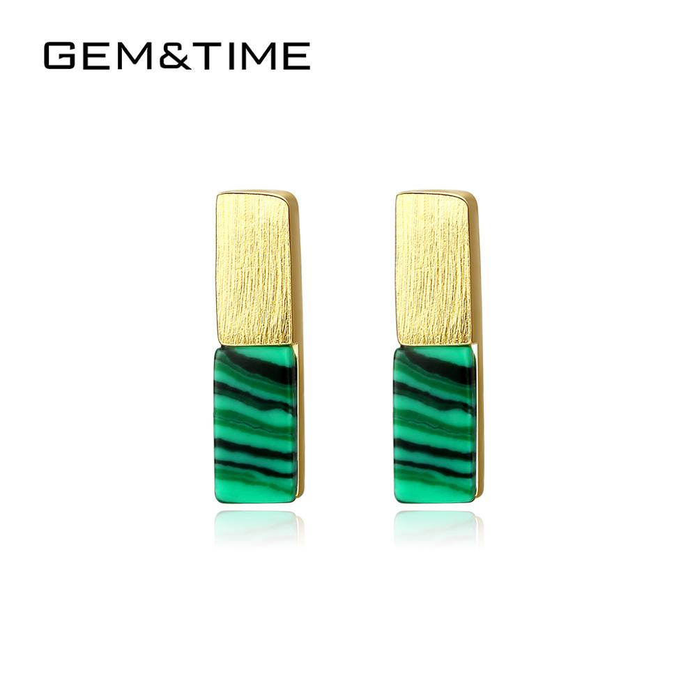 Stud-Earrings Malachite-Bar Pour Femmes Women Sterling Gem Time Silver for Boucles D'oreilles title=