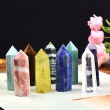 1pc天然水晶列クォーツロックミネラル標本クリスタルポイントクォーツ虹杖家の装飾レイキヒーリングエネルギー石