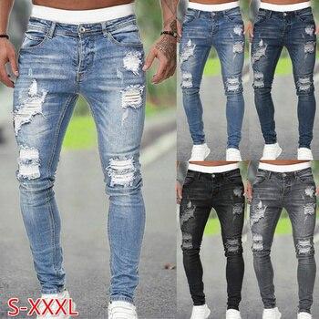 Men Jeans Regular Fit Hole Jean Pants Spring Autumn Streetwear Mens Casual Denim Ripped Skinny Trousers Slim Biker Outwear Pants 1